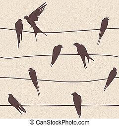 Vector nahtlos mit Vögeln.