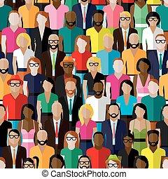 Vector nahtlose Muster mit einer großen Gruppe von Männern und Frauen. Fla