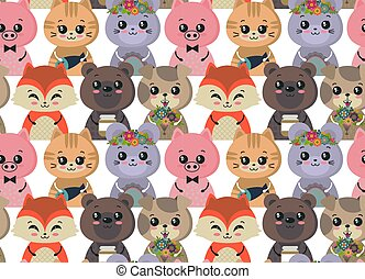 Vector nahtlose Muster mit süßen Tieren. Farbige lustige Figuren.