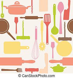 Vector nahtloses Muster von Küchenwerkzeugen.