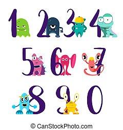 Vector-Nummern zum Happy Birthday mit niedlichen Comic-Monster, isoliert auf weißem Hintergrund