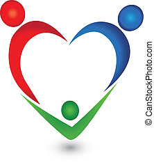 Vector of family heart shape logo.