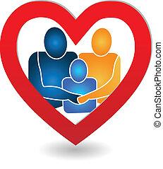 Vector of family in a heart logo.