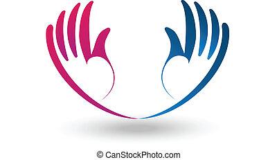 Vector of hopeful hands logo.