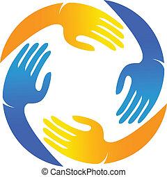 Vector of teamwork hands logo.