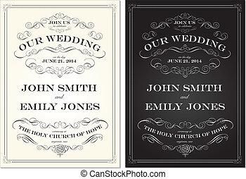 Vector Old Fashioned Hochzeitsrahmenset