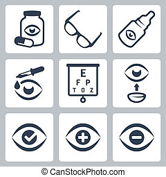 Vector Optometry Symbole gesetzt.