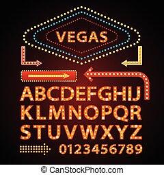 Vector orange Neon Lampenschriften zeigen vegas Lichtzeichen Theather.