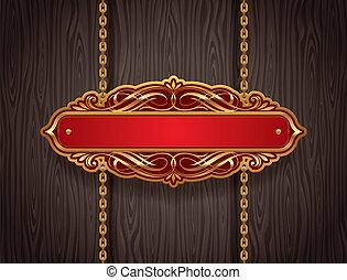 Vector ornate goldfarbenes Schild, das an Ketten an einer Holzwand hängt
