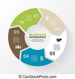 Vector-Pfeile für Infographie. Vorlage für Diagramm, Diagramm, Präsentation und Diagramm. Business-Konzept mit 5 Optionen, Teilen, Schritten oder Prozessen. Abstrakter Hintergrund.