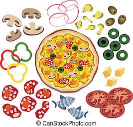Vector Pizza und Zutaten für dein Design