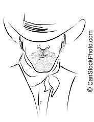 Vector Portrait von Cowboy auf weißem Stern