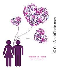 Vector pulsierende Feldblüten Paar in Liebe Silhouetten Rahmenmuster Einladung Grußkarten Vorlage.