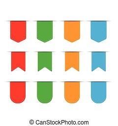 Vector Ribbon Set - rot, blau, grün, orange.