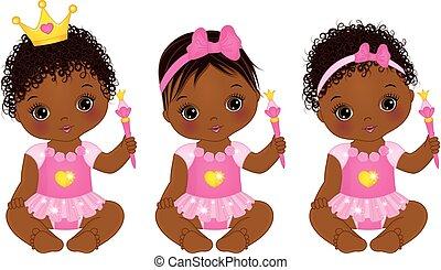 Vector süße afrikanische amerikanische Baby-Mädchen gekleidet als Prinzessinnen