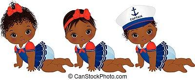 Vector süße afroamerikanische Baby-Mädchen im nautischen Stil gekleidet