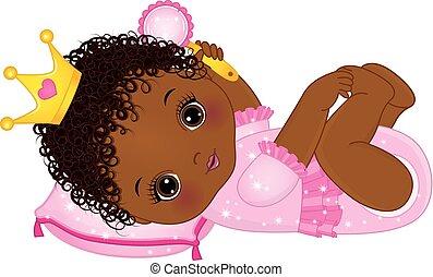 Vector süßes afrikanisches amerikanisches Mädchen gekleidet als Prinzessin