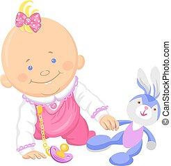 Vector süßes kleines Mädchen spielt mit einem Spielzeughasen
