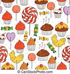 Vector Süßigkeiten und Muffins nahtlos Muster