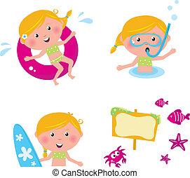 Vector-Sammlungs-Sommer-Ikonen, schwimmende Kinder isoliert auf weiß