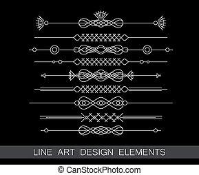 Vector Satz der Linienkunst Grenzelemente für Design.