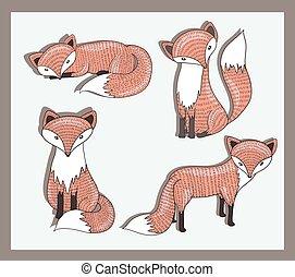 Vector Satz süßer kleiner Fuchs