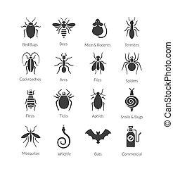 Vector Satz von Icons mit Insekten für Schädlingsbekämpfung Firma.