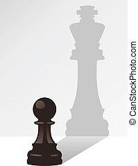 Vector Schachfigur mit dem Schatten eines Königs