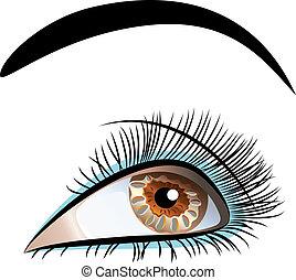 Vector schließt ein wunderschönes weibliches Auge