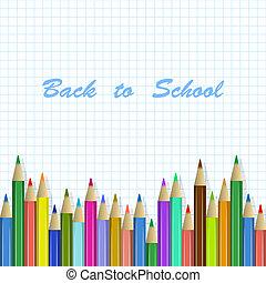 Vector-Schule mit farbigen Bleistiften