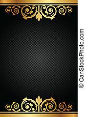 Vector, schwarz und goldener Luxusrahmen