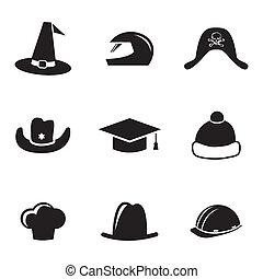 Vector schwarzer Helm und Hut Icons eingestellt.