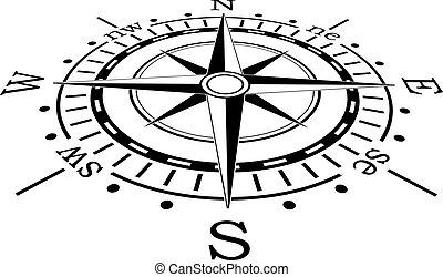 Vector schwarzer Kompass.