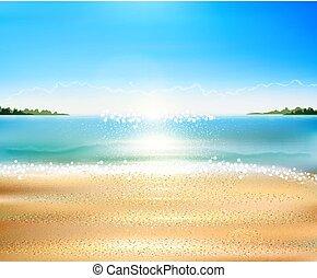 Vector Seelandschaft mit Strand, Sand, Meer.