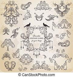Vector Set: Kalliraphische Design-Elemente und Seite Dekoration, klassische Bildsammlung mit Blumen