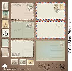 Vector Set: Vintage Postkarten, Briefumschläge und Briefmarken.