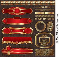 Vector Set von gerahmten goldenen Etiketten.