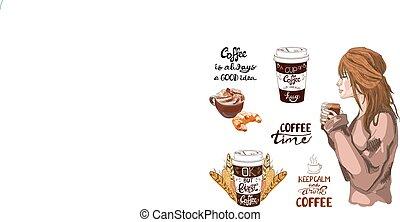 VECTOR-Set von Kaffee-Theme Vintage-Elementen.