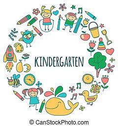 Vector Set von Kindergartenbildern.