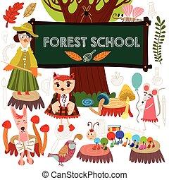 Vector Set von süßen Wald-und Waldtiere in der Schule. Krähe, Fuchs, Hase, Millipede, Maus, Schmetterling. (Alle Objekte sind isolierte Gruppen, so dass Sie sie bewegen und trennen können).