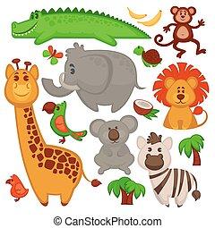 Vector Set von verschiedenen süßen afrikanischen Tieren.