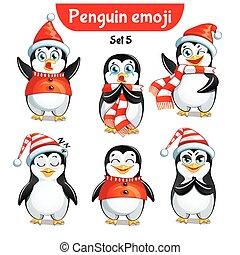 Vector Set von Weihnachts Pinguinfiguren. Set 3