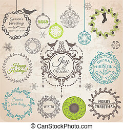 Vector Set: Weihnachts-Kriterium-Entwicklungselemente und Seite-Dekoration, klassische Bilder