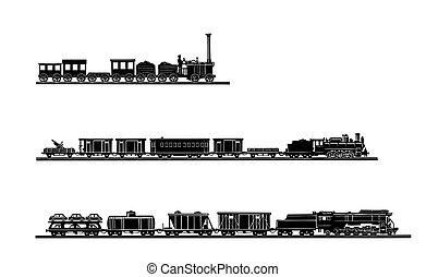 Vector setzte den alten Zug auf weißen Hintergrund
