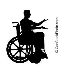 Vector Silhouette behindert in einem Rollstuhl, der Bestürzung ausdrückt