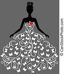 Vector Silhouette der jungen Frau in Kleid