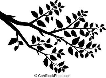 Vector Silhouette des Astbaums.