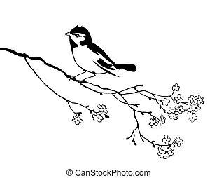 Vector Silhouette des Vogels auf dem Astbaum.