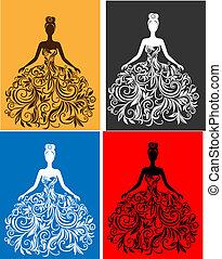 Vector Silhouette einer jungen Frau in einem Kleid