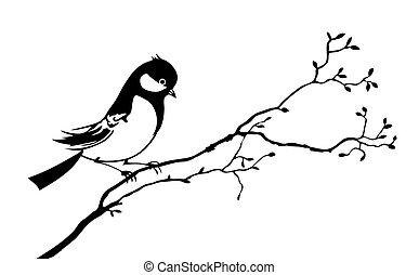 Vector Silhouette vom Vogel auf dem Ast